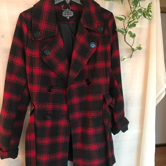 Jou Jou Juniors' Double-Breasted Belted Coat